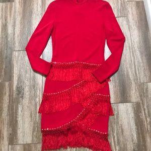 SWINGING RED HOT! sz Lrg. Red long sleeve fringe